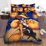 Halloween, Witch, Orange Witch And Pumpkin Art Bed Sheets Spread Duvet Cover Bedding Sets