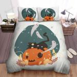Black Cat & Halloween Friends Bed Sheets Spread Duvet Cover Bedding Sets