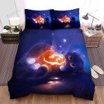 Halloween Cat Having Fun With Jack O Lantern Artwork Bed Sheets Spread Duvet Cover Bedding Sets