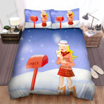 She Received Mail Near The Christmas Tree Bed Sheets Spread Duvet Cover Bedding Sets