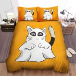 Halloween Cat In Spooky Ghost Costume Bed Sheets Spread Duvet Cover Bedding Sets