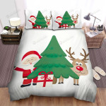 Santa Claus And His Deer Behind Christmas Tree Art Bed Sheets Spread Duvet Cover Bedding Sets