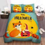 Happy Halloween With Orange Cat Bed Sheets Spread Duvet Cover Bedding Sets