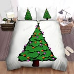 Red Ball And Purple Ball On Christmas Tree Bed Sheets Spread Duvet Cover Bedding Sets