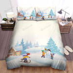 Children Playing Near The Christmas Tree At Snowy Place Bed Sheets Spread Duvet Cover Bedding Sets