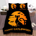 Happy Halloween With Lady Cat Silhouette Bed Sheets Spread Duvet Cover Bedding Sets