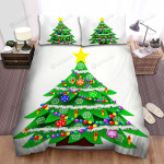 Snow Decoration Of Christmas Tree Art Bed Sheets Spread Duvet Cover Bedding Sets