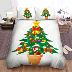 Small Santa On The Christmas Tree Bed Sheets Spread Duvet Cover Bedding Sets