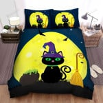 Halloween Black Witch Cat With Flying Broom Bed Sheets Spread Duvet Cover Bedding Sets