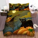 Halloween Black Cat & Scarecrow Jack O Lantern Bed Sheets Spread Duvet Cover Bedding Sets