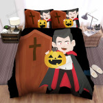 Halloween Vampire Holding Jack-O-Lantern Illustration Bed Sheets Spread Duvet Cover Bedding Sets