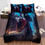 Halloween Vampire Lady Doing A Magic Ritual Bed Sheets Spread Duvet Cover Bedding Sets