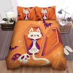 Halloween Vampire Cat Sleeping Inside The Coffin Bed Sheets Spread Duvet Cover Bedding Sets