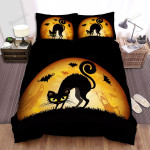 Halloween Black Cat With Ghosts And Bats Bed Sheets Spread Duvet Cover Bedding Sets