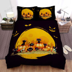 Halloween Black Kitties And Eyes In The Dark Bed Sheets Spread Duvet Cover Bedding Sets