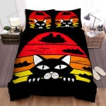 Halloween Black Cat In Retro Background Bed Sheets Spread Duvet Cover Bedding Sets