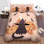 Halloween Adorable Black Cat With Smiling Jack O Lantern Illustration Bed Sheets Spread Duvet Cover Bedding Sets