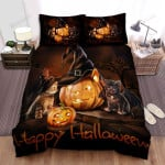 Happy Halloween With Cute Kitties Bed Sheets Spread Duvet Cover Bedding Sets