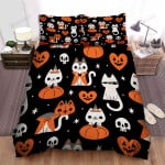 Halloween Funny Cartoon Cat Pattern Bed Sheets Spread Duvet Cover Bedding Sets