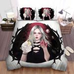 Halloween Vampire Girl With Skull Artwork Bed Sheets Spread Duvet Cover Bedding Sets