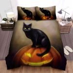 Halloween Black Cat And Jack O Lantern Art Painting Bed Sheets Spread Duvet Cover Bedding Sets