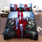 Halloween Vampire Girl In Red Bed Sheets Spread Duvet Cover Bedding Sets