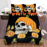 Halloween Skull Wearing Pumpkin Hat Painting Bed Sheets Spread Duvet Cover Bedding Sets