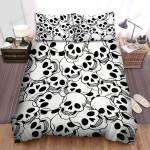 Halloween Skull Black & White Pattern Bed Sheets Spread Duvet Cover Bedding Sets