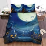 Halloween, Bat, Scary Town Scenery Bed Sheets Spread Duvet Cover Bedding Sets