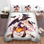 Halloween, Witch, Satisfied Witch Art Bed Sheets Spread Duvet Cover Bedding Sets