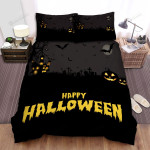 Halloween, Bat, Bats And Pumpkin At The Cemeteries Bed Sheets Spread Duvet Cover Bedding Sets