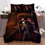 Halloween Vampire And A Witch Anime Art Bed Sheets Spread Duvet Cover Bedding Sets