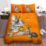 Happy Halloween With Skull And Friends Artwork Bed Sheets Spread Duvet Cover Bedding Sets
