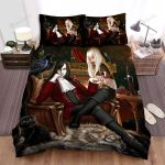 Halloween Vampire Couple Artwork Bed Sheets Spread Duvet Cover Bedding Sets