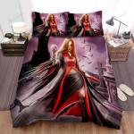 Halloween Vampire Lady In The Graveyard Bed Sheets Spread Duvet Cover Bedding Sets