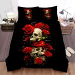 Halloween Red Roses And Skulls 3d Art Bed Sheets Spread Duvet Cover Bedding Sets