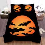 Halloween, Bat, Orange Moon And Bats Bed Sheets Spread Duvet Cover Bedding Sets