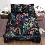 Halloween Skulls With Snakes And Flowers Artwork Bed Sheets Spread Duvet Cover Bedding Sets