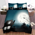 Halloween, Bat, Flying Animals Around The House Bed Sheets Spread Duvet Cover Bedding Sets