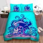 Halloween Skull & Blue Octopus Underwater Bed Sheets Spread Duvet Cover Bedding Sets