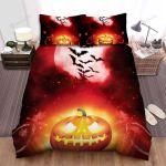 Halloween, Bat, Speakers Of The Pumpkin Bed Sheets Spread Duvet Cover Bedding Sets