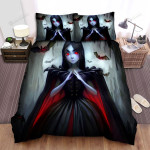 Halloween Vampire Girl With Red Eyes Bed Sheets Spread Duvet Cover Bedding Sets