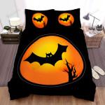 Halloween, Bat, Bat Moon Art Bed Sheets Spread Duvet Cover Bedding Sets
