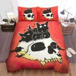 Halloween Cartoon Skull & Adorable Black Cats Bed Sheets Spread Duvet Cover Bedding Sets