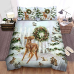 Christmas Tree And Nice Animals Bed Sheets Spread Duvet Cover Bedding Sets