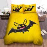 Halloween, Bat, Yellow Eyes Bat Art Bed Sheets Spread Duvet Cover Bedding Sets