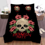 Halloween Party With Skull And Flowers Bed Sheets Spread Duvet Cover Bedding Sets