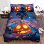 Halloween, Bat, All Around The Pumpkin Art Bed Sheets Spread Duvet Cover Bedding Sets
