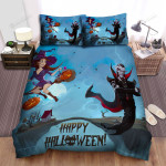 Happy Halloween With Vampire King And Little Witch Bed Sheets Spread Duvet Cover Bedding Sets