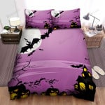 Halloween, Bat, Purple Scary Night Bed Sheets Spread Duvet Cover Bedding Sets